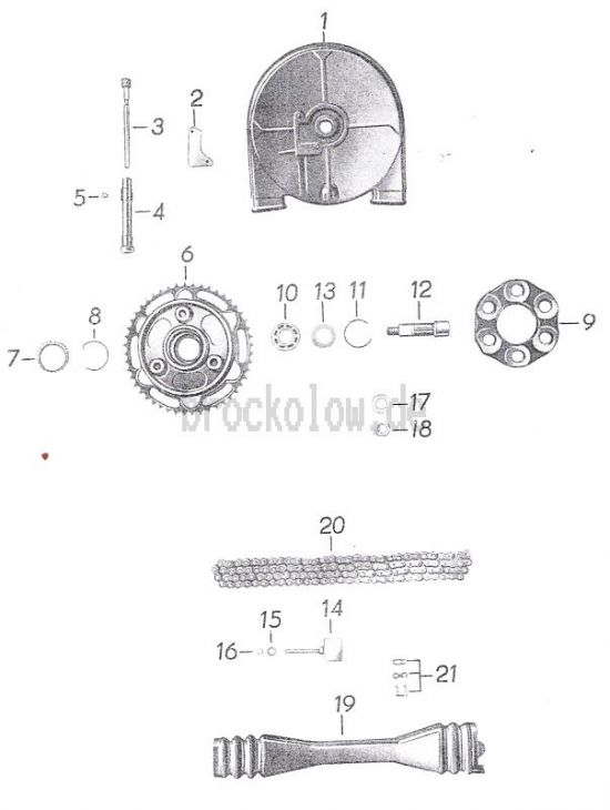 14. Kettenschutz, Tacho-Antrieb