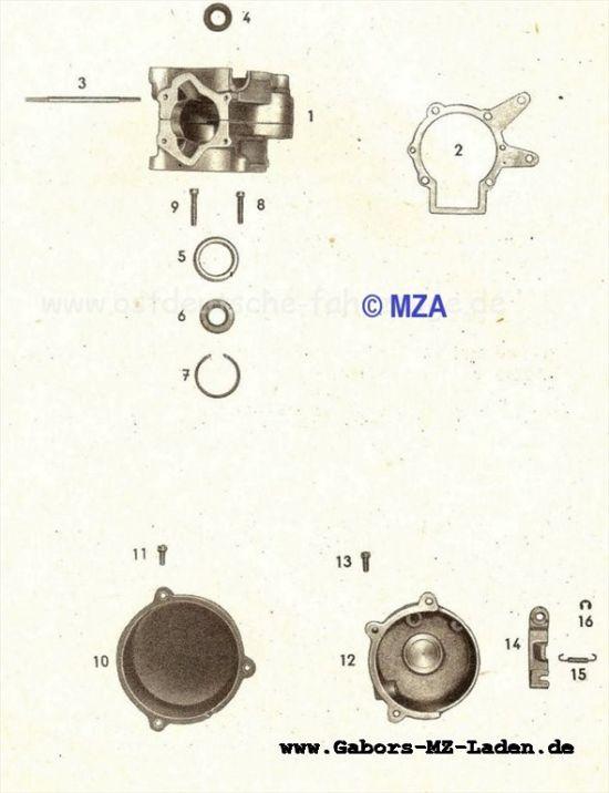 11. Motorgehäuse, Kupplungsdeckel, Lichtmaschinendeckel