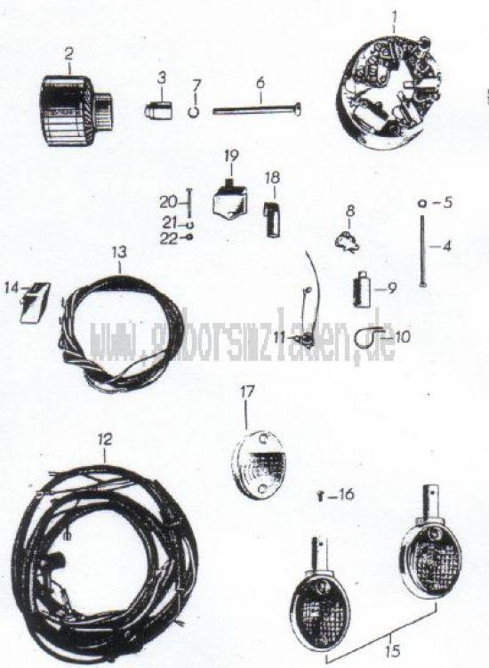 14. Lichtmaschine, Unterbrecher, Lenkerblinkleuchte
