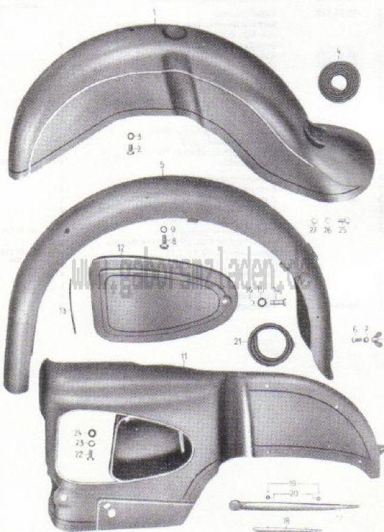 16. Kotflügel, Verkleidung ES 250 und 300