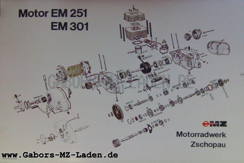 MZ Explosivdarstellung Motor EM 251/301