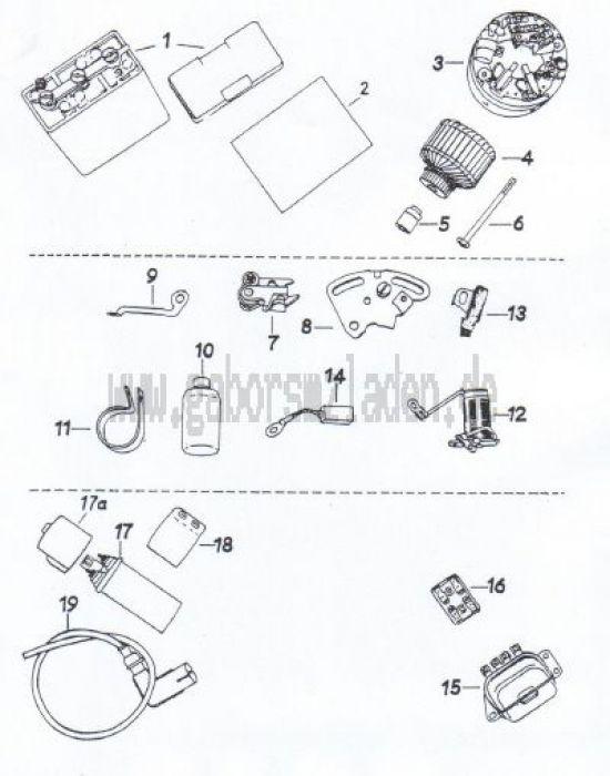 14 Batterie,  Lichtmaschine,  Regler, Zündspule