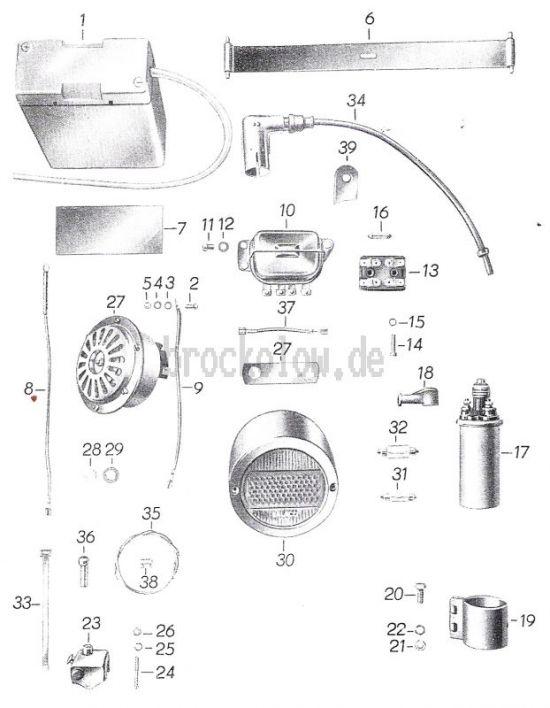 21.Batterie, Regler, Zündspule, Schlußleuchte