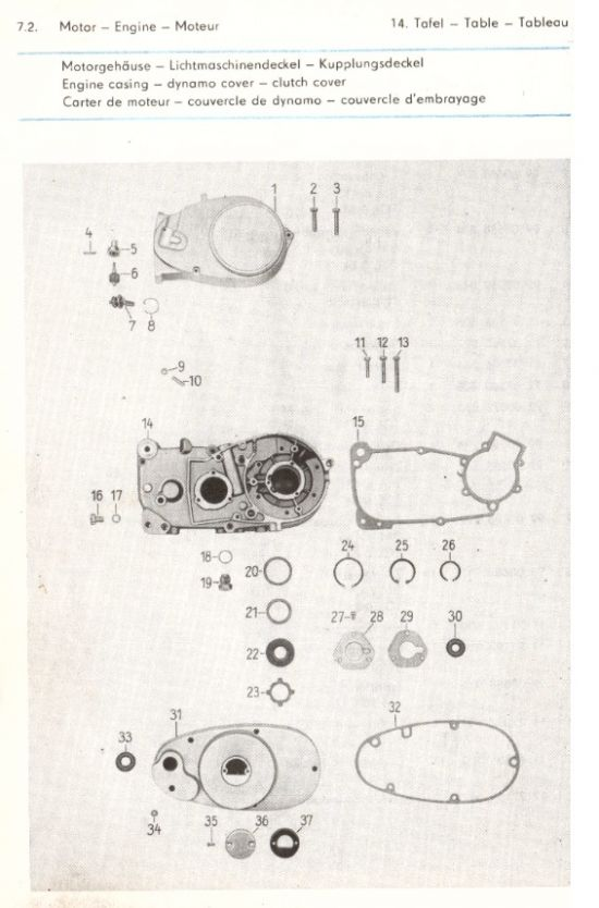 Motor - Motorgehäuse, Lichtmaschinendeckel, Kupplungsdeckel (14.)