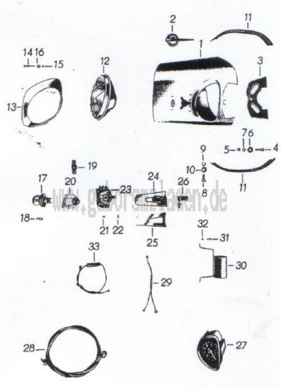16. Scheinwerfer, Glühlampen, Tachometer