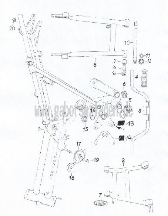 01 Rahmen, Kippständer, Schwinge