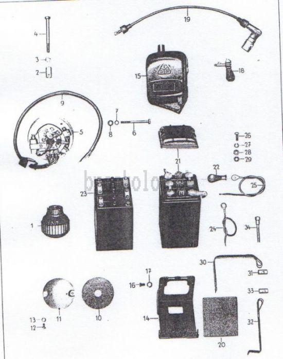 18. Lichtmaschine, Spulenkasten, Batterie, Zündkabel