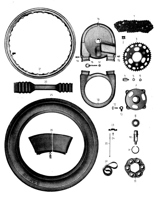 14. Hinterradantrieb: Kette, Zahnkranz, Kettenschutz, Räder, Bereifung