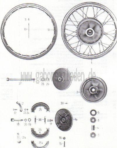 13. Vorderrad, Radkörper, Bremse, Bremsbetätigung
