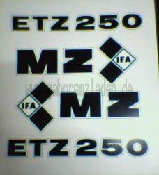 Aufkleber/Klebefolie Satz ETZ 250 schwarz/weiß