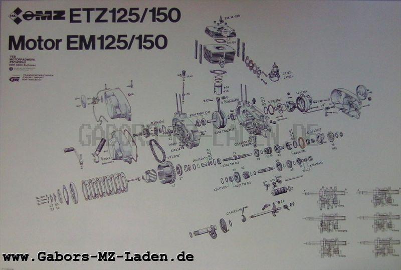 MZ Explosivdarstellung Motor EM 125/150