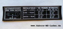 Klebefolie-Reifendruck, 150X32mm schwarz mit weiß