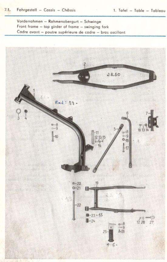 Fahrgestell - Rahmen, Schwinge (01.)