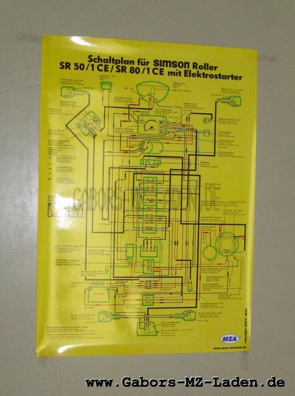Schaltplan Farbposter (40x60cm) SR50/1 CE, SR80/1 CE (mit E-Start) (beidseitig Glanzcello, schmutzabweisend)