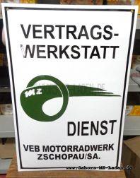 Emailleschild MZ Vertrags-Werkstatt Emailschild