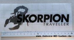 Klebefolie Skorpion Traveller silber, Schrift schwarz