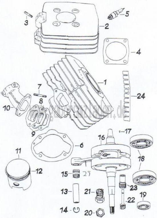 19 Zylinder,  Kolben,  Kurbelwelle,  Drehzahlmesserantrieb
