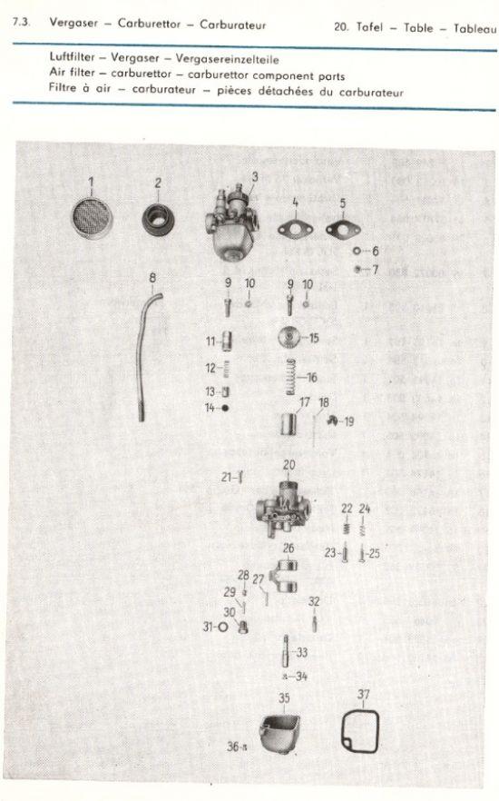 Motor - Luftfilter, Vergaser, Vergasereinzelteile (20.)
