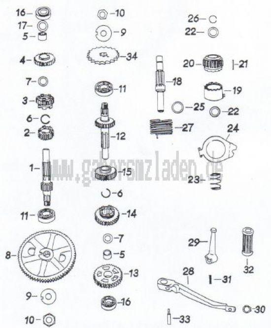 21a Getriebe,  Zahnräder & Wellen  ( MM 250/3 )