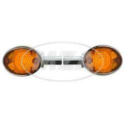 Paar Lenkerblinkleuchte 8580.26 - Chromlook + oranges Glas - Vogelserie, passend f. MZ ES
