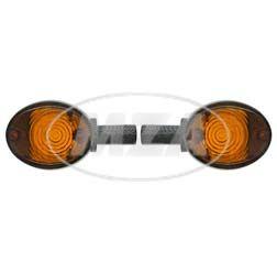 Paar Lenkerblinkleuchte 8580.26 - Carboneffekt + oranges Glas - Vogelserie, passend f. MZ ES