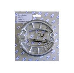 Bremsbacke-SET, 1.Qualität (KIT incl. Bremsbackenfeder und Sicherungsclips, mit Stahleinlage) Simson