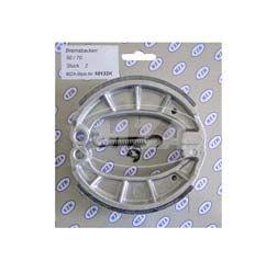 Bremsbacke-Set  SPORT, 1.Qualität (KIT incl. Bremsbackenfeder und Sicherungsclips, mit Stahleinlage + geschlitzen Belag) Simson