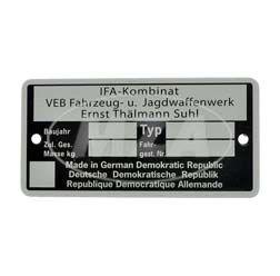 Typenschild - IFA Kombinat VEB Fajas - neutrale Ausführung, bis Baujahr 1990