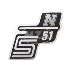 "Klebefolie Seitendeckel ""N"", silber, S51"