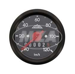 Tachometer mit Beleuchtung, Ring + Skale schwarz, ø 48 mm - S50 - 120 km/h-Ausführung
