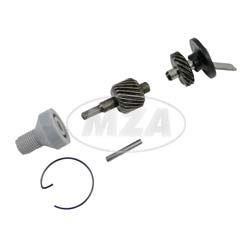 Set Tachoantrieb - 5-teilig (Schraubenrad, Schraubenritzel und Kleinteile) für Ritzel  Z=14 / Motor M52, M53, M54