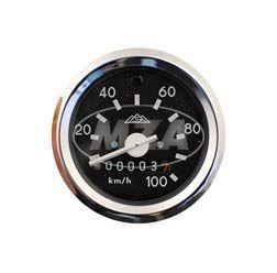 Tachometer mit Beleuchtung und Blinkkontrollleuchte grün - mit Chromring - ø60mm - 100 km/h - S51, S53, S70