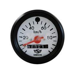 Tachometer - ø60mm - 100km/h - roter Zeiger, weißes Ziffernblatt mit SIMSON-Logo, schwarzer Ring, grüne Blinkkontrolle