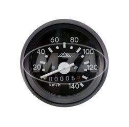 Tachometer mit Beleuchtung und Blinkkontrollleuchte grün, schwarzen Ring - ø60mm -  Anzeigebereich bis 140km/h - S51, S53, S70
