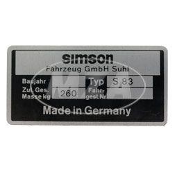 Typenschild -  Simson Mokick S83 -  SIMSON Fahrzeug GmbH Suhl - 1990 bis 1992