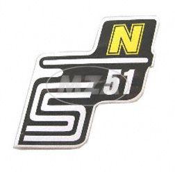 """Klebefolie Seitendeckel """"N"""", gelb, S51"""