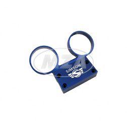 Armaturenträger f. Rundinstrumente ø 60 mm Tacho und DZM  - Alu blau - Simson Schrift und Logo erhaben - S50, S51, S53, S70, S83