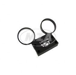 Armaturenträger f. Rundinstrumente ø 60 mm Tacho und DZM  - Alu schwarz - Simson Schrift und Logo erhaben - S50, S51, S53, S70, S83