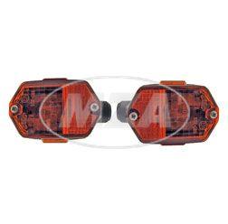 Paar Blinkleuchten BL80 - eckig , vorn / hinten - Lichtaustritt orange, Rohrdurchmesser - 15 mm - Simson, passend f. MZ