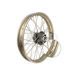 Speichenrad 1,6x19 Zoll für Scheibenbremse (Alu-Nabe schwarz, Edelstahlfelge, Edelstahlspeichen)