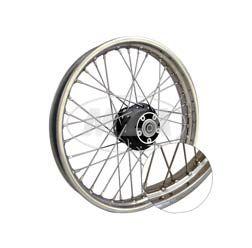 Speichenrad 1,6x17 Zoll für Scheibenbremse (Alu-Nabe schwarz, Edelstahlfelge, Edelstahlspeichen)