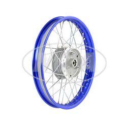 Speichenrad 1,60x16 Zoll Alufelge, blau eloxiert und poliert + Edelstahlspeichen (Radnabe: Graugussbremsring, abgedrehte Flanken)