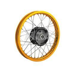 Speichenrad 1,5x16 Zoll - Alufelge GOLD + Edelstahlspeichen - schwarze Radnabe + abgedrehte Flanken