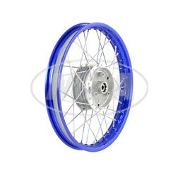 Speichenrad 1,50x16 Zoll Alufelge, blau eloxiert und poliert + Edelstahlspeichen (Radnabe: Graugussbremsring, abgedrehte Flanken)