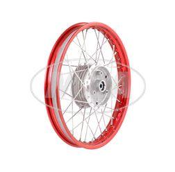 Speichenrad 1,50x16 Zoll Alufelge, rot eloxiert und poliert + Edelstahlspeichen (Radnabe: Graugussbremsring, abgedrehte Flanken)