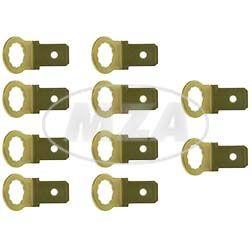 10x Flachstecker Kontaktzunge, Masseverbindung - 6,3 x 0,8 mm - Kupfer-Zink, blank, innen verzahnt, für Ø6 mm-Bohrungen