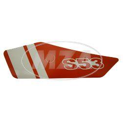 Klebefolie f. Seitendeckel links - rot / weiß - S53