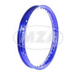 Alufelge 1,60x16 - 36-Loch - blau eloxiert und poliert