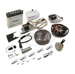 SET Umrüstsatz VAPE (M-G) S50, S51, S70 auf 12V 35/35W (mit Batterie inkl. Säurepack, Hupe und Leuchtmittel)