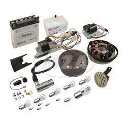 Umrüstsatz VAPE M-G-V (Magnete geklebt und vergossen!) auf 12V35/35W (mit Batterie, Hupe und Kugellampen) mit Säurepack  S50, S51, S70